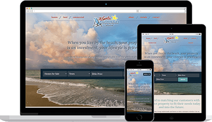 Atlantic Beach website homepage on various devices