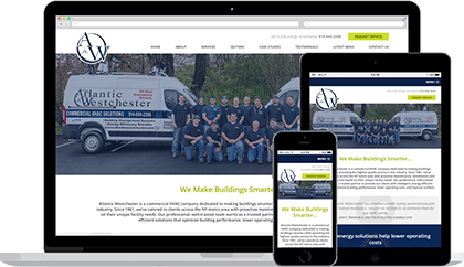 Atlantic Westchester website homepage on various devices