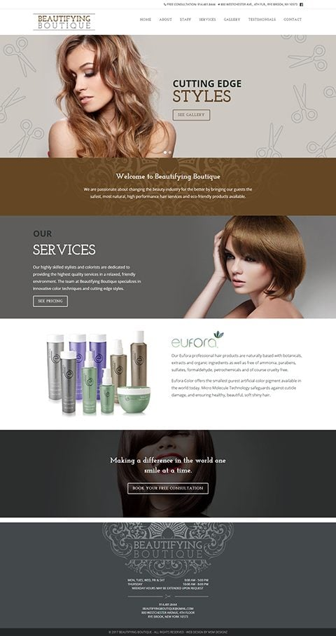 Beautifying Boutique website homepage
