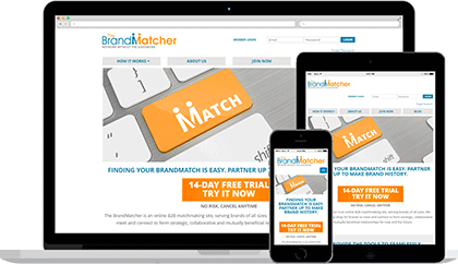 BrandMatcher website homepage on various devices
