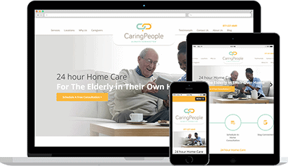 Caring People website homepage on various devices