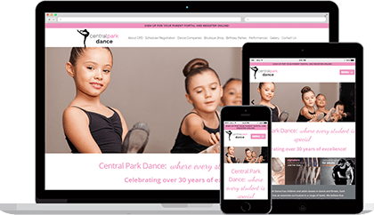 Central Park Dance website homepage on various devices