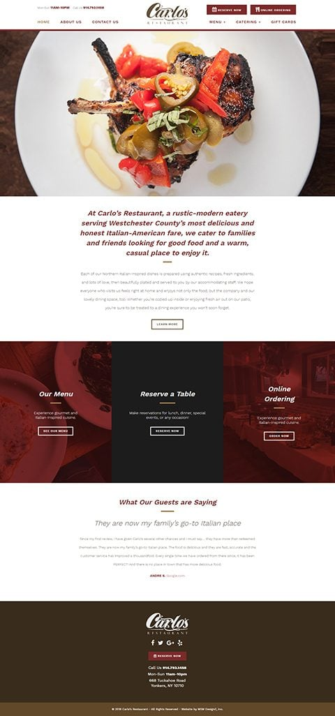 Carlo's Restaurant website homepage