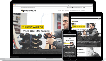 Cosentino Training website homepage on various devices