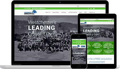 Crossfit Immortal website homepage on various devices