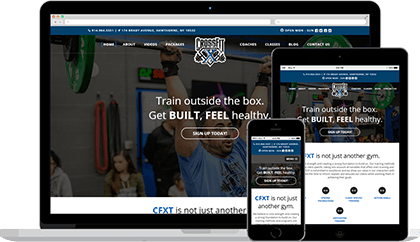 Crossfit XT website homepage on various devices