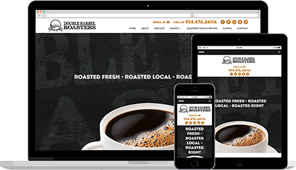 Double Barrel Roasters website homepage on various devices