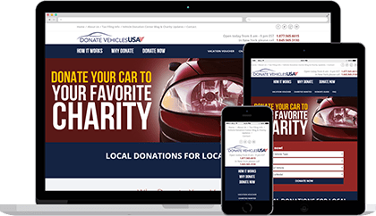 Donate Vehicles USA website homepage on various devices