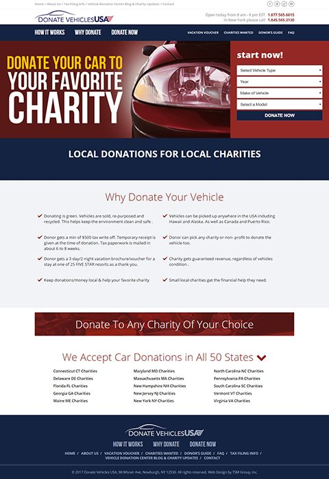 Donate Vehicles USA website homepage