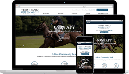 The First Bank of Greenwich website homepage on various devices