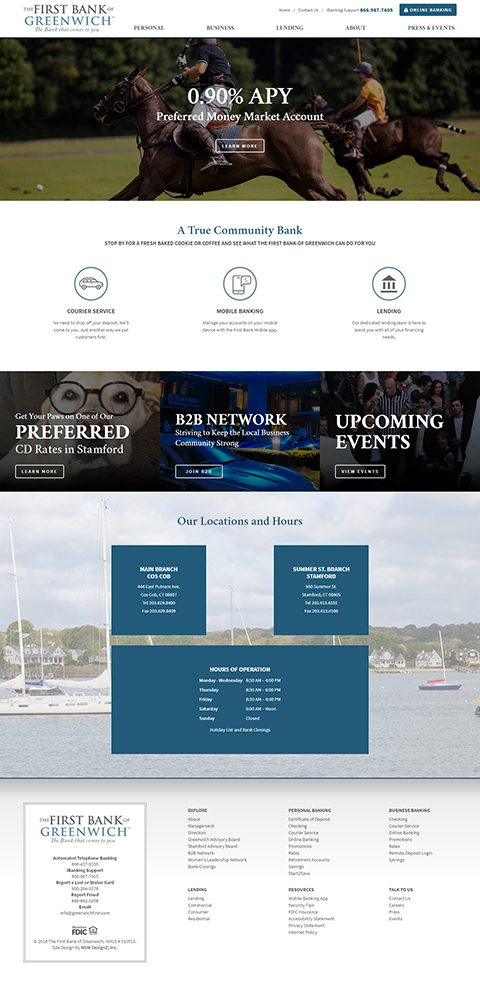 The First Bank of Greenwich website homepage
