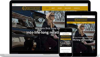 First Class Valet website homepage on various devices