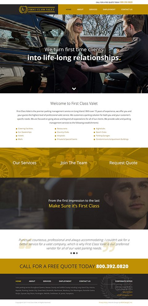 First Class Valet website homepage
