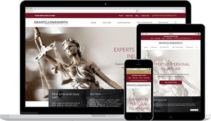 Grant & Longworth website homepage on various devices