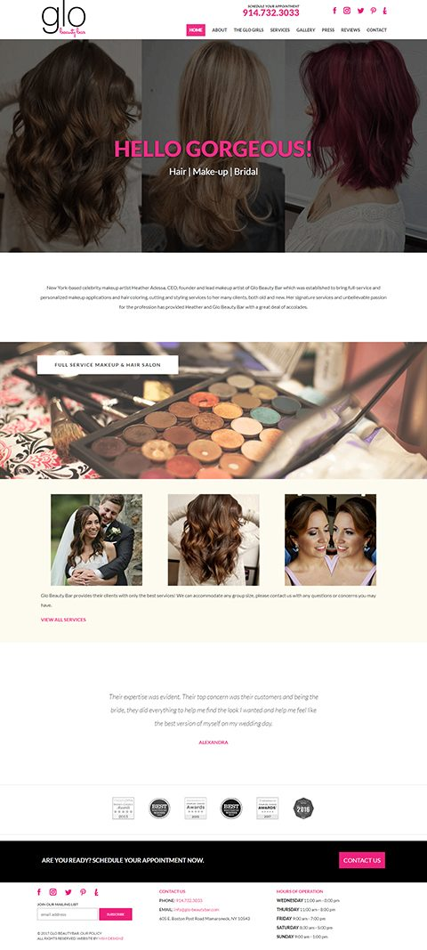 Glo Beauty Bar website homepage