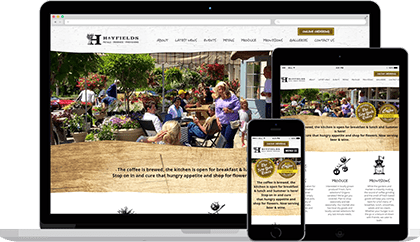 Hayfields website homepage on various devices
