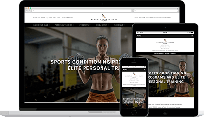 Kinetic Sports Club website homepage on various devices