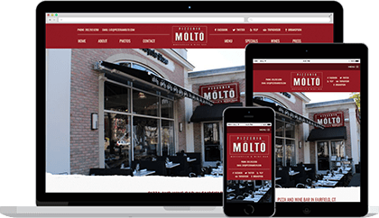 Pizzeria Molto website homepage on various devices