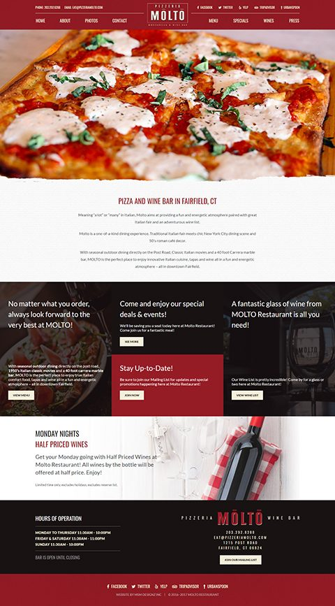 Pizzeria Molto website homepage