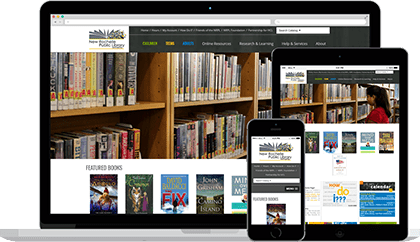 New Rochelle Public Library website homepage on various devices