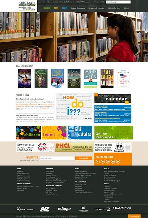 New Rochelle Public Library website homepage