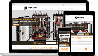 Richards Manufacturing website homepage on various devices