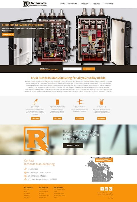 Richards Manufacturing website homepage