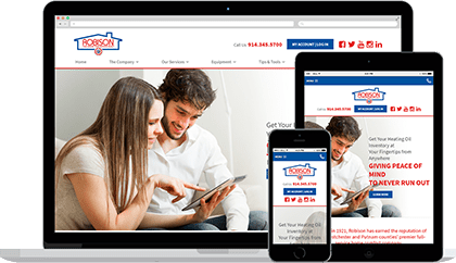 Robison Oil website homepage on various devices