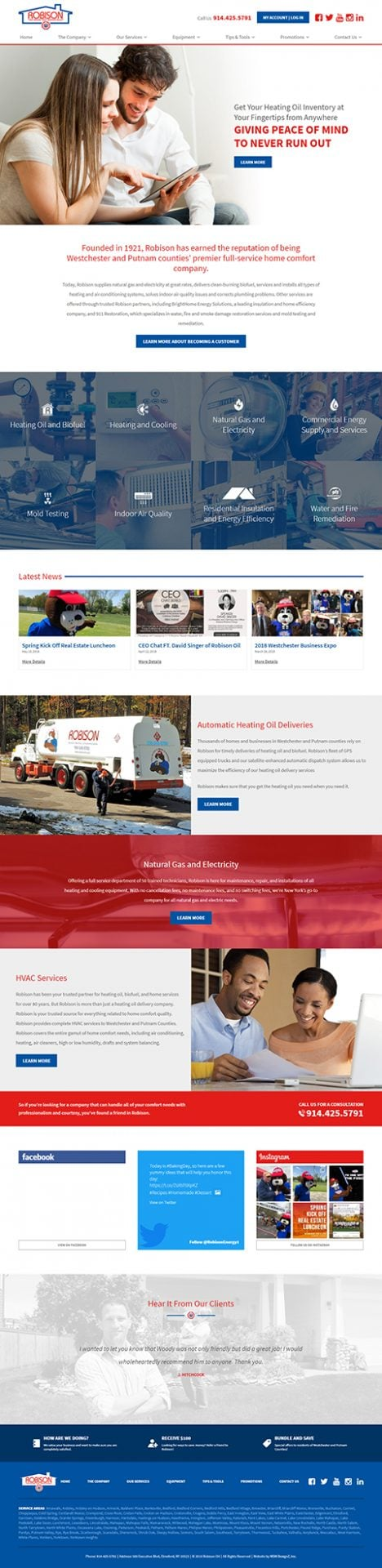 Robison Oil website homepage