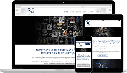 Ross Greenburg Productions website homepage on various devices