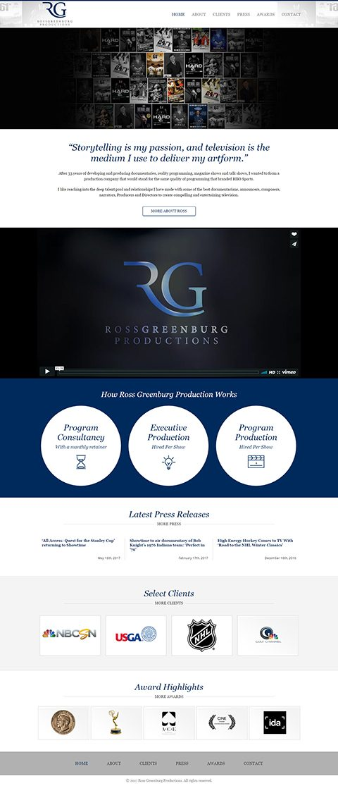 Ross Greenburg Productions website homepage