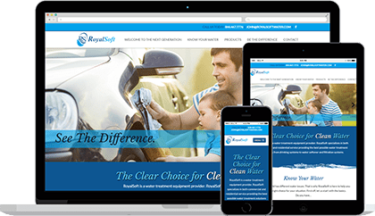 RoyalSoft website homepage on various devices