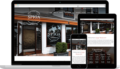 Spiga website homepage on various devices