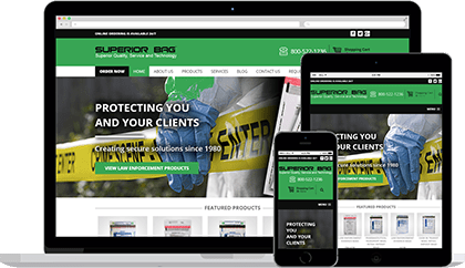 Superior Bag website homepage on various devices