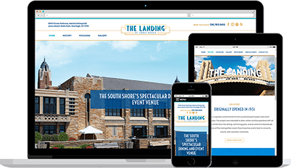 The Landing at Jones Beach website homepage on various devices