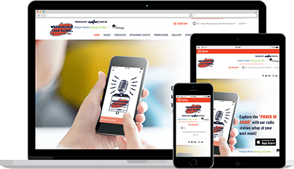 Westchester Talk Radio website homepage on various devices