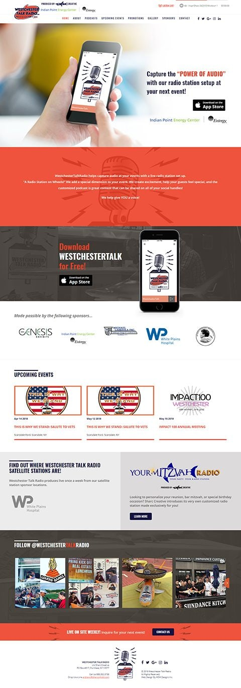 Westchester Talk Radio website homepage