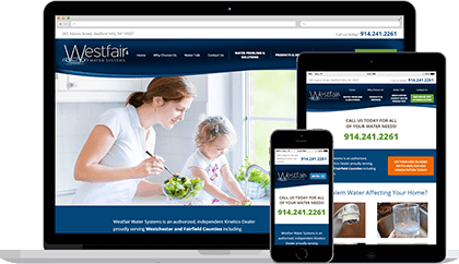 Westfair Water website homepage on various devices