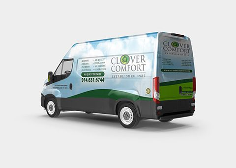 Vehicle wrap work for Clover Comfort