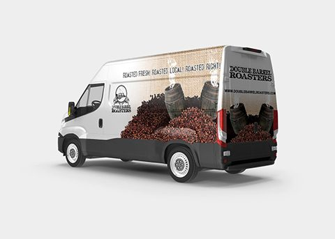 Vehicle wrap for Double Barrel Roasters