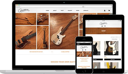 Grosbeak Guitars website homepage on various devices