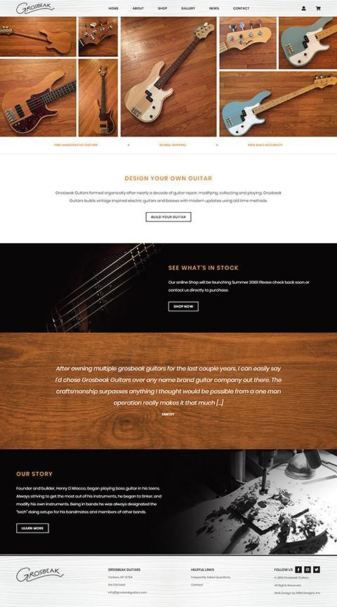 Grosbeak Guitars website homepage