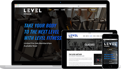 Website homepage for Level Fitness Clubs on various devices