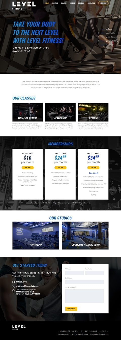 Website homepage for Level Fitness Clubs