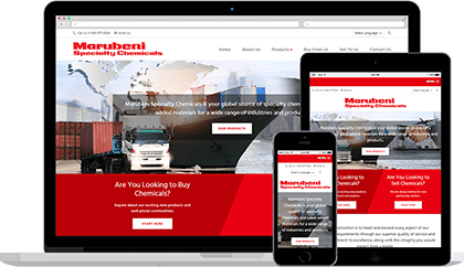 Website homepage for Marubeni Specialty Chemicals on various devices