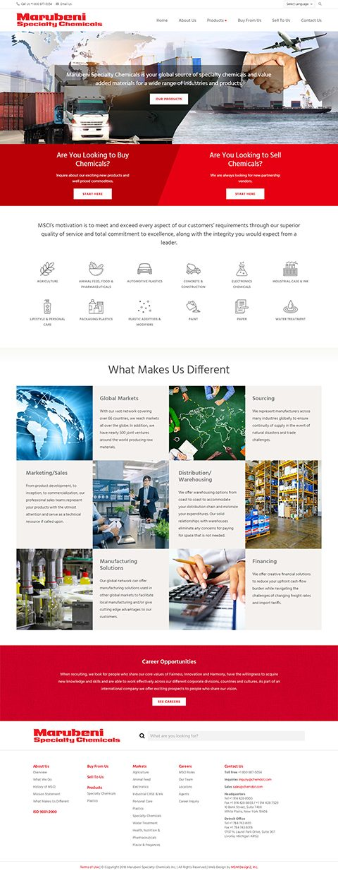 Website homepage for Marubeni Specialty Chemicals
