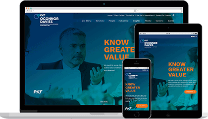 PKF O'Connor Davies website homepage on various devices