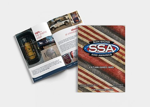 Print/advertising work for San Signs and Awnings