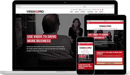 Website homepage for Video SEO Pro on various devices